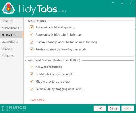 TidyTabs параметры